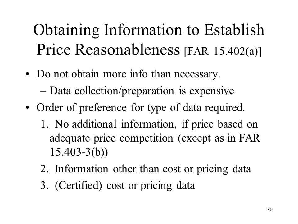 Obtaining Information to Establish Price Reasonableness [FAR 15